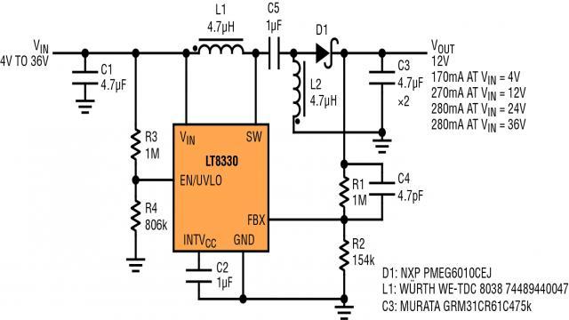就高于 24v 的输入电压而言,图 5 电路可提供高达 3.4w 功率.